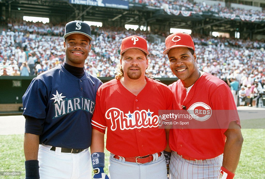 Ken Griffey Jr #24 of the Seattle Mariners, John Kruk #29 of the Philadelphia Phillies and Barry Larkin #11 of the Cincinnati Reds poses together for this portrait prior to the start of the 1993 Major League Baseball All-Star game July 13, 1993 at Oriole Park at Camden Yards in Baltimore, Maryland. The American League beat the National League 9-3.