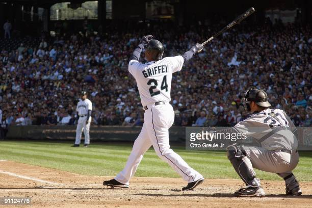 Ken Griffey Jr of the Seattle Mariners makes a hit during the game against the New York Yankees on September 20 2009 at Safeco Field in Seattle...