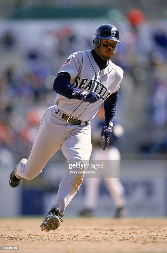 <a gi-track='captionPersonalityLinkClicked' href=/galleries/search?phrase=Ken+Griffey+Jr.&family=editorial&specificpeople=171573 ng-click='$event.stopPropagation()'>Ken Griffey Jr.</a> of the Seattle Mariners runs during a 1997 season game. <a gi-track='captionPersonalityLinkClicked' href=/galleries/search?phrase=Ken+Griffey+Jr.&family=editorial&specificpeople=171573 ng-click='$event.stopPropagation()'>Ken Griffey Jr.</a> played for the Seattle Mariners from 1989-1999.