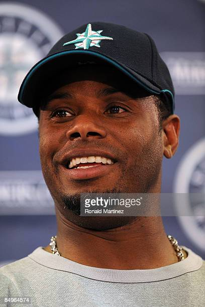 Ken Griffey Jr speaks with the media regarding his return to the Seattle Mariners during a press conference on February 21 2009 in Peoria Arizona