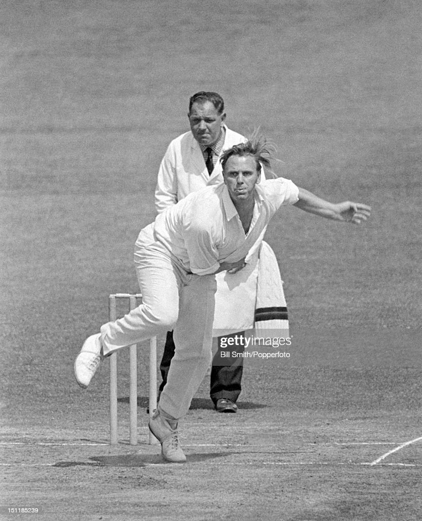 Ken Higgs bowling for Lancashire during their County Championship match against Northamptonshire at the County Ground in Northampton 28th June 1969...