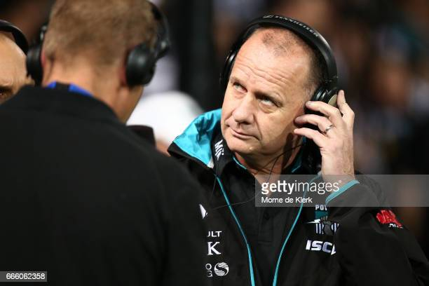 Ken Hinkley of the Power is interviewed before the round three AFL match between the Port Adelaide Power and the Adelaide Crows at Adelaide Oval on...