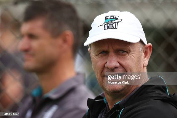 Ken Hinkley of the Power looks on before the 2017 JLT Community Series AFL match between the Port Adelaide Power and the Richmond Tigers at Malseed...