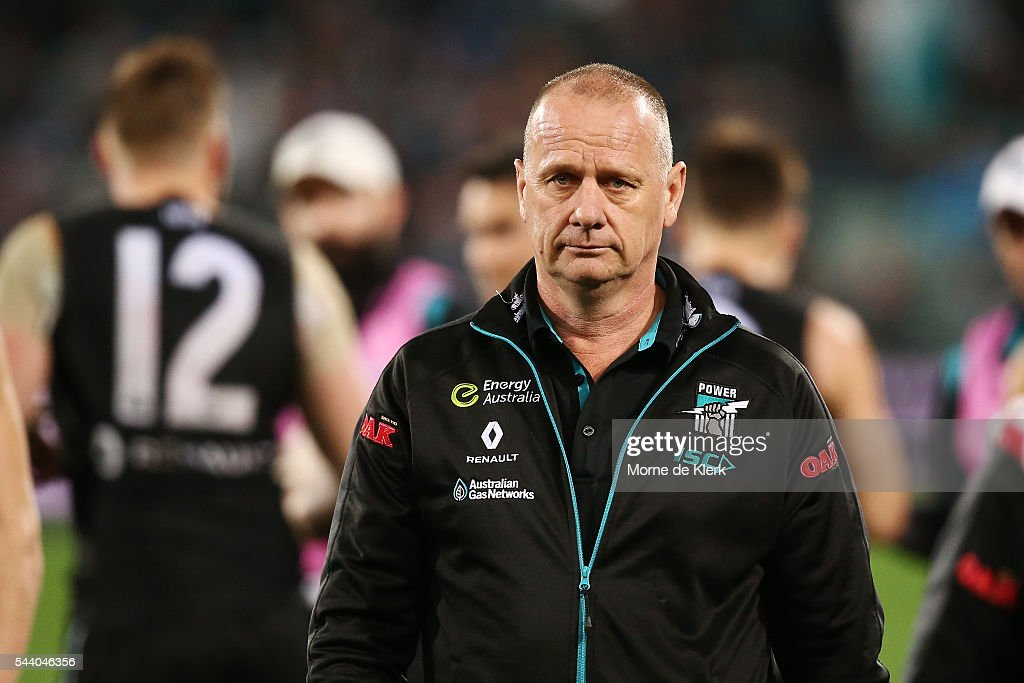 Ken Hinkley of the Power looks on during the round 15 AFL match between the Port Adelaide Power and the Richmond Tigers at Adelaide Oval on July 1, 2016 in Adelaide, Australia.