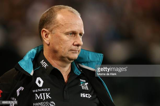 Ken Hinkley of the Power looks on during the round three AFL match between the Port Adelaide Power and the Adelaide Crows at Adelaide Oval on April 8...