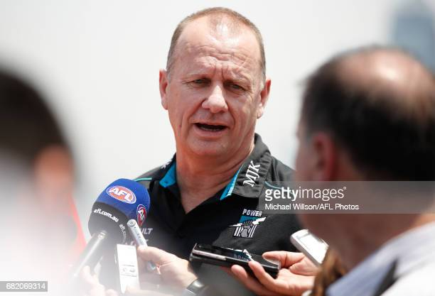 Ken Hinkley Senior Coach of the Power addresses the media during the Port Adelaide Power and Gold Coast Suns joint Captain and Coach press conference...