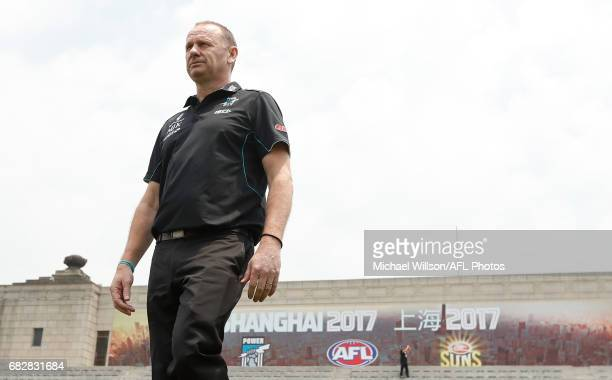 Ken Hinkley Senior Coach of the Power looks on during the 2017 AFL round 08 match between the Gold Coast Suns and Port Adelaide Power at Jiangwan...