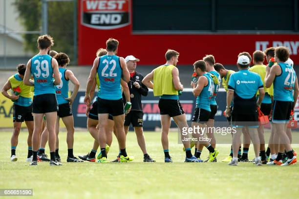 Ken Hinkley talks to his players during a Port Power AFL Training Session at Alberton Oval on March 23 2017 in Adelaide Australia