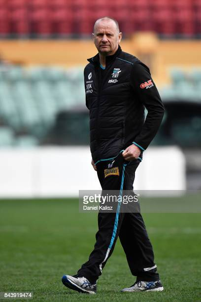 Ken Hinkley the coach of the Power looks on during a Port Adelaide Power AFL training session at Adelaide Oval on September 8 2017 in Adelaide...