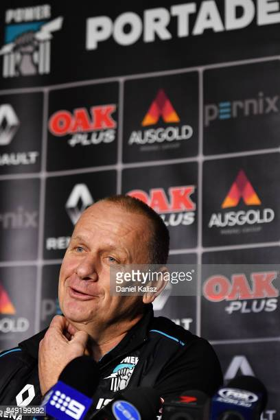 Ken Hinkley the coach of the Power speaks to the media at Alberton Oval on September 19 2017 in Adelaide Australia