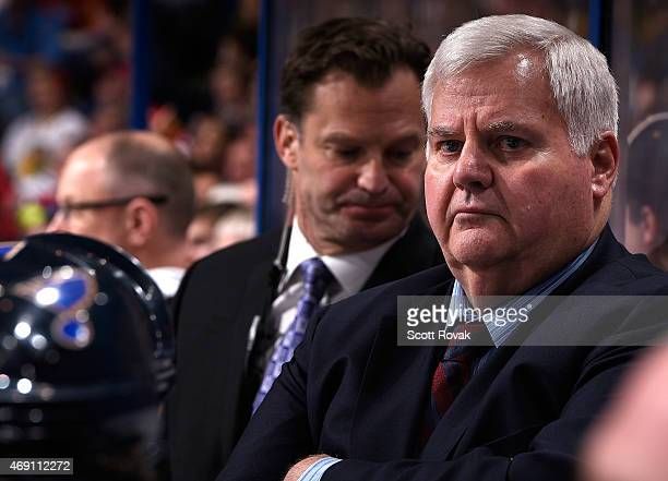 Ken Hitchcock of the St Louis Blues looks on as his team plays the Chicago Blackhawks on April 9 2015 at the Scottrade Center in St Louis Missouri