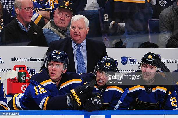 Ken Hitchcock of the St Louis Blues looks on as his team plays the Chicago Blackhawks in Game One of the Western Conference First Round during the...