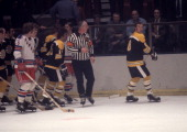 Ken Hodge of the Boston Bruins argues with the referee during an NHL game against the New York Rangers circa 1972 at the Madison Square Garden in New...