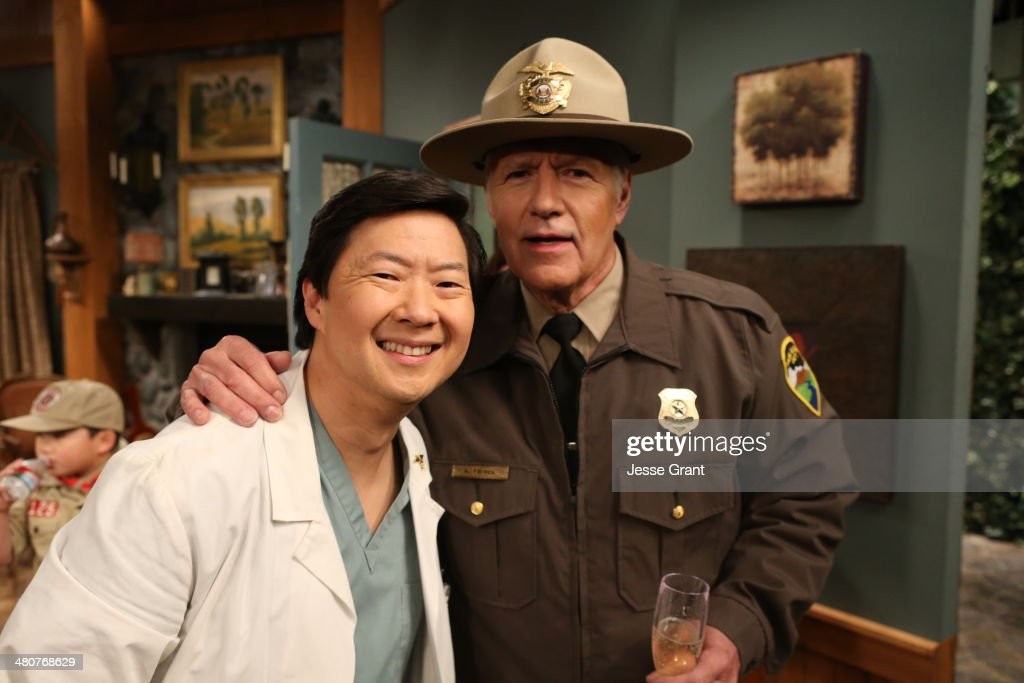 <a gi-track='captionPersonalityLinkClicked' href=/galleries/search?phrase=Ken+Jeong&family=editorial&specificpeople=4195975 ng-click='$event.stopPropagation()'>Ken Jeong</a> and <a gi-track='captionPersonalityLinkClicked' href=/galleries/search?phrase=Alex+Trebek&family=editorial&specificpeople=595944 ng-click='$event.stopPropagation()'>Alex Trebek</a> pose during the 'Hot In Cleveland' LIVE! at the CBS Studio Center on March 26, 2014 in Studio City, California.