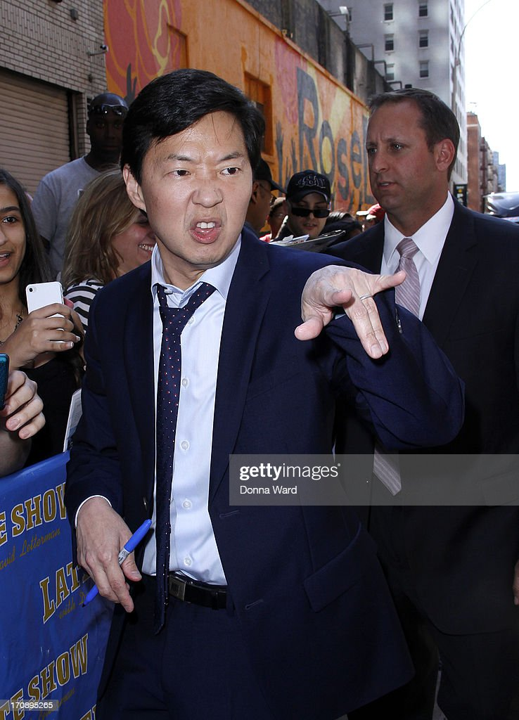 <a gi-track='captionPersonalityLinkClicked' href=/galleries/search?phrase=Ken+Jeong&family=editorial&specificpeople=4195975 ng-click='$event.stopPropagation()'>Ken Jeong</a> greets fans at the 'Late Show with David Letterman' at Ed Sullivan Theater on June 19, 2013 in New York City.