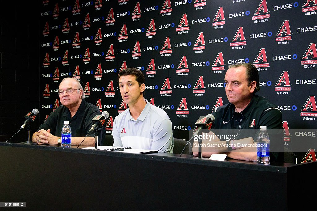 Ken Kendrick, Mike Hazen, and Derrick Hall of the Arizona Diamondbacks address the media during a press conference in regards to appointing Mike Hazen the new General Manager on October 17, 2016 in Phoenix, Arizona.