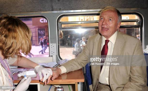 Ken Livingstone is tested for hepatitis B and C on the first ever GET TESTED Bus for World Hepatitis Day 2009 in Leicester Square central London