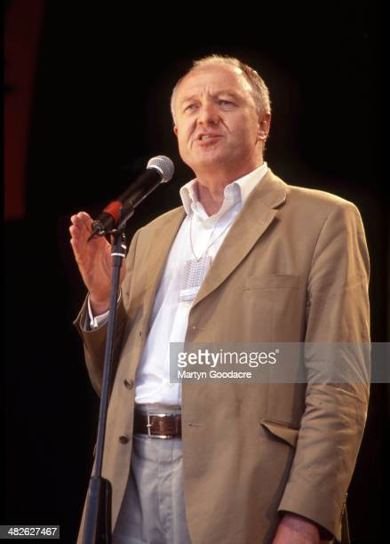 Ken Livingstone Mayor of London addressing the crowds at the Respect Festival Finsbury Park London United Kingdom 2001