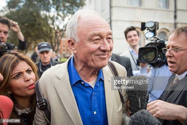 Ken Livingstone speaks to reporters as he leaves Milbank Studios on April 28 2016 in London England Mr Livingstone has been suspended from Labour...