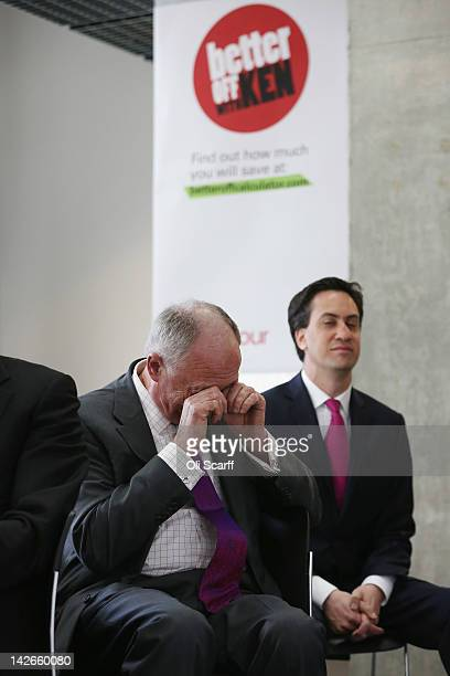 Ken Livingstone the Labour candidate for Mayor of London rubs his eyes as his mayoral promotional video is shown at Ravensbourne College on April 11...