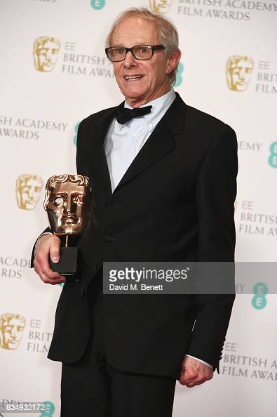 Ken Loach accepting the Outstanding British Film award for 'I Daniel Blake' poses in the winners room at the 70th EE British Academy Film Awards at...