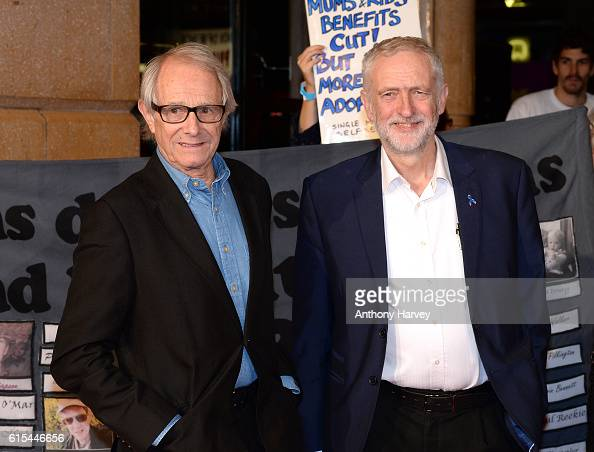 Ken Loach and Jeremy Corbyn attend the 'I Daniel Blake' people's premiere at Vue West End on October 18 2016 in London England