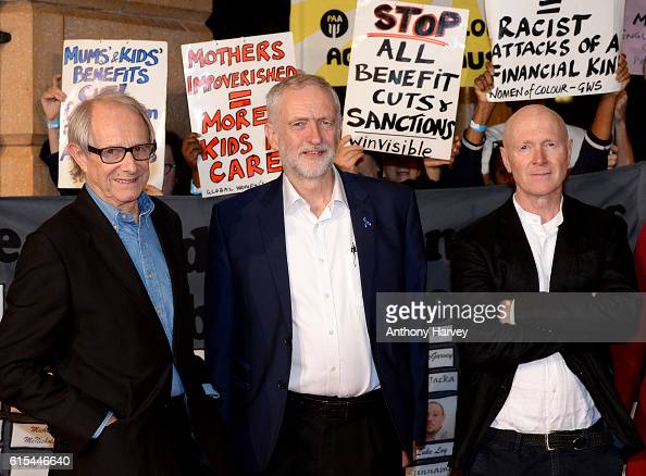 Ken Loach Jeremy Corbyn and Paul Laverty attend the 'I Daniel Blake' people's premiere at Vue West End on October 18 2016 in London England