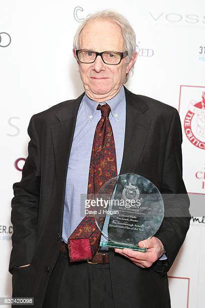 Ken Loach with the award for The Attenborough Award for British/Irish Film of the Year at the Critics' Circle Film Awards at The Mayfair Hotel on...