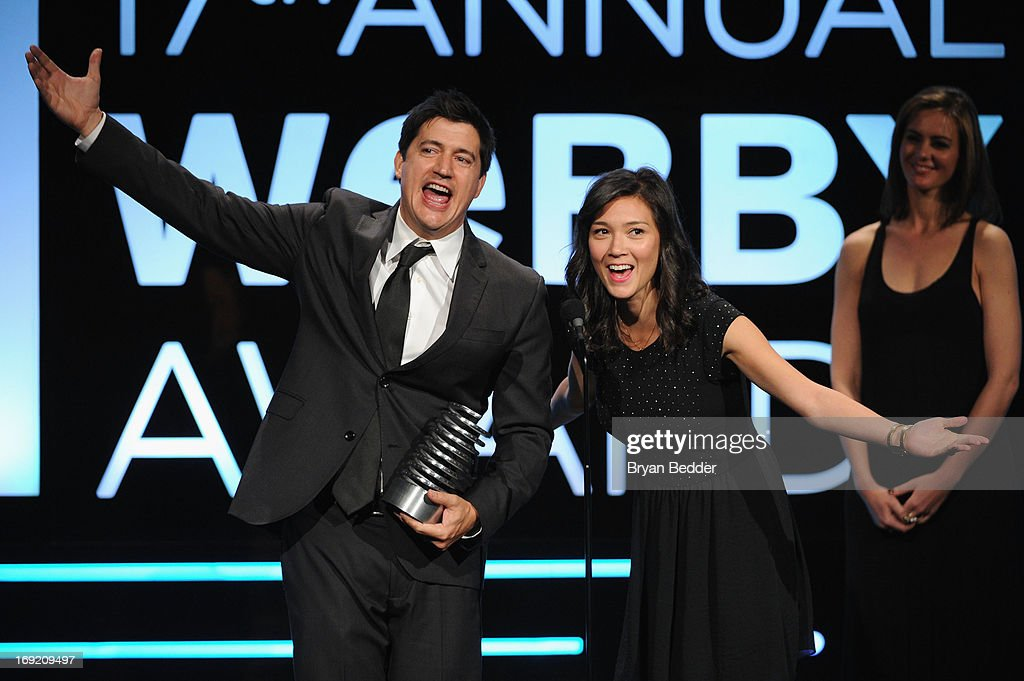 <a gi-track='captionPersonalityLinkClicked' href=/galleries/search?phrase=Ken+Marino&family=editorial&specificpeople=2979469 ng-click='$event.stopPropagation()'>Ken Marino</a> and Erica Oyama speak onstage at the 17th Annual Webby Awards at Cipriani Wall Street on May 21, 2013 in New York City.