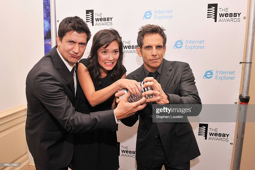 <a gi-track='captionPersonalityLinkClicked' href=/galleries/search?phrase=Ken+Marino&family=editorial&specificpeople=2979469 ng-click='$event.stopPropagation()'>Ken Marino</a>, Erica Oyama and <a gi-track='captionPersonalityLinkClicked' href=/galleries/search?phrase=Ben+Stiller&family=editorial&specificpeople=201806 ng-click='$event.stopPropagation()'>Ben Stiller</a> accept the Webby Award for 'Burning Love' at the 17th Annual Webby Awards at Cipriani Wall Street on May 21, 2013 in New York City.