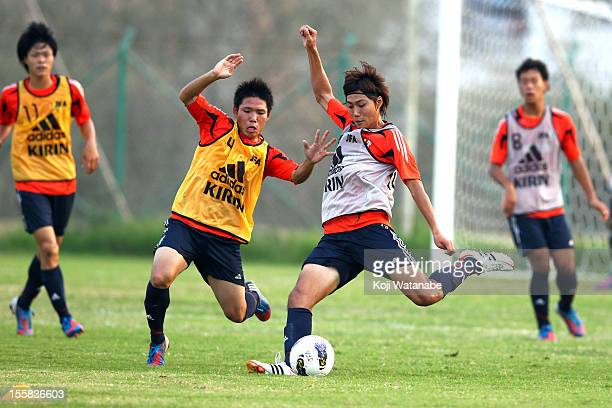 Ken Matsubara of Japan take part in a training session ahead of the U19 AFC Championship quarter final match against Iraq on November 8 2012 in Ras...