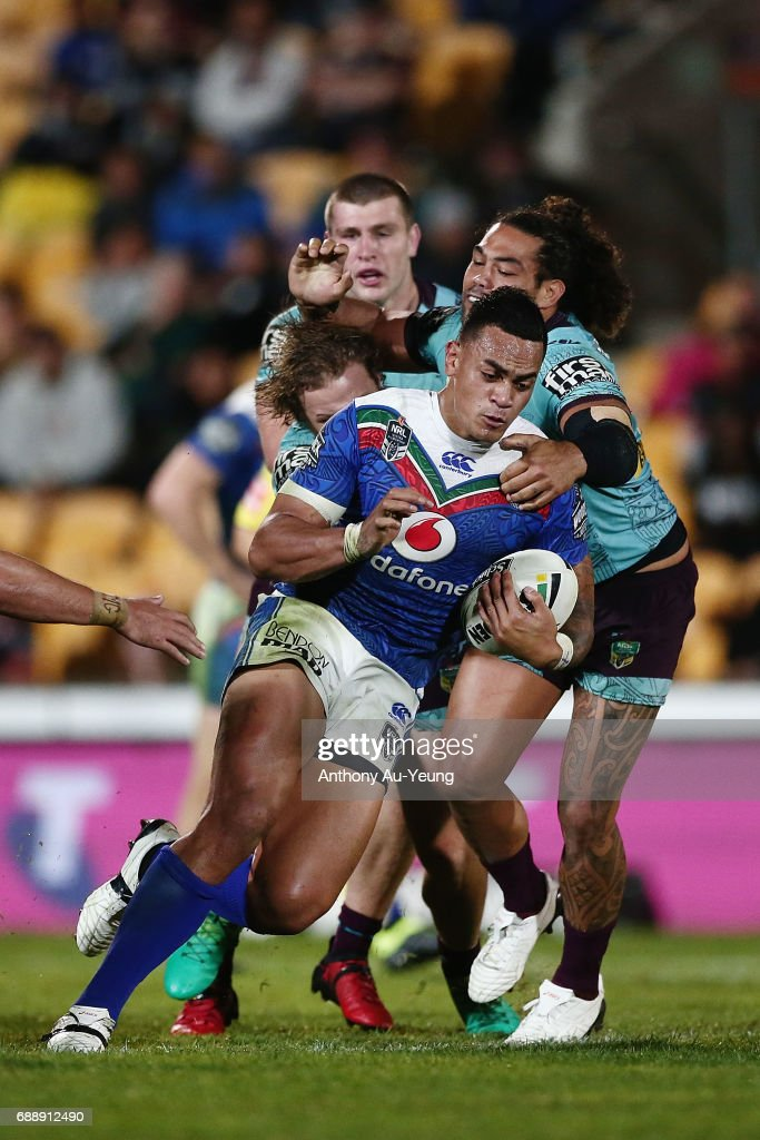 Ken Maumalo of the Warriors is tackled by Adam Blair of the Broncos during the round 12 NRL match between the New Zealand Warriors and the Brisbane Broncos at Mt Smart Stadium on May 27, 2017 in Auckland, New Zealand.