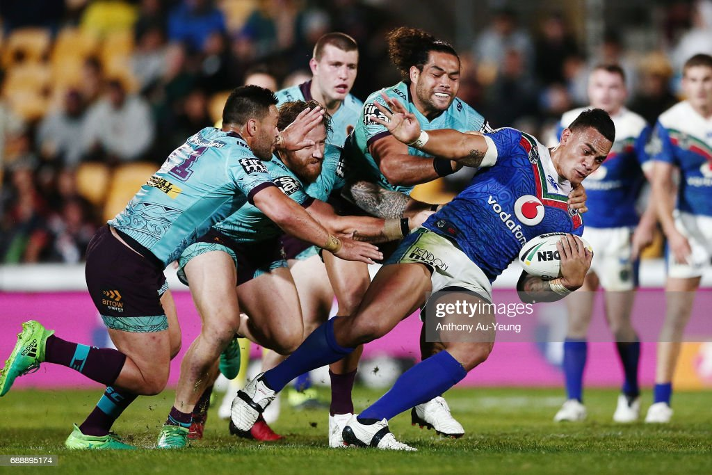 Ken Maumalo of the Warriors is tackled during the round 12 NRL match between the New Zealand Warriors and the Brisbane Broncos at Mt Smart Stadium on May 27, 2017 in Auckland, New Zealand.