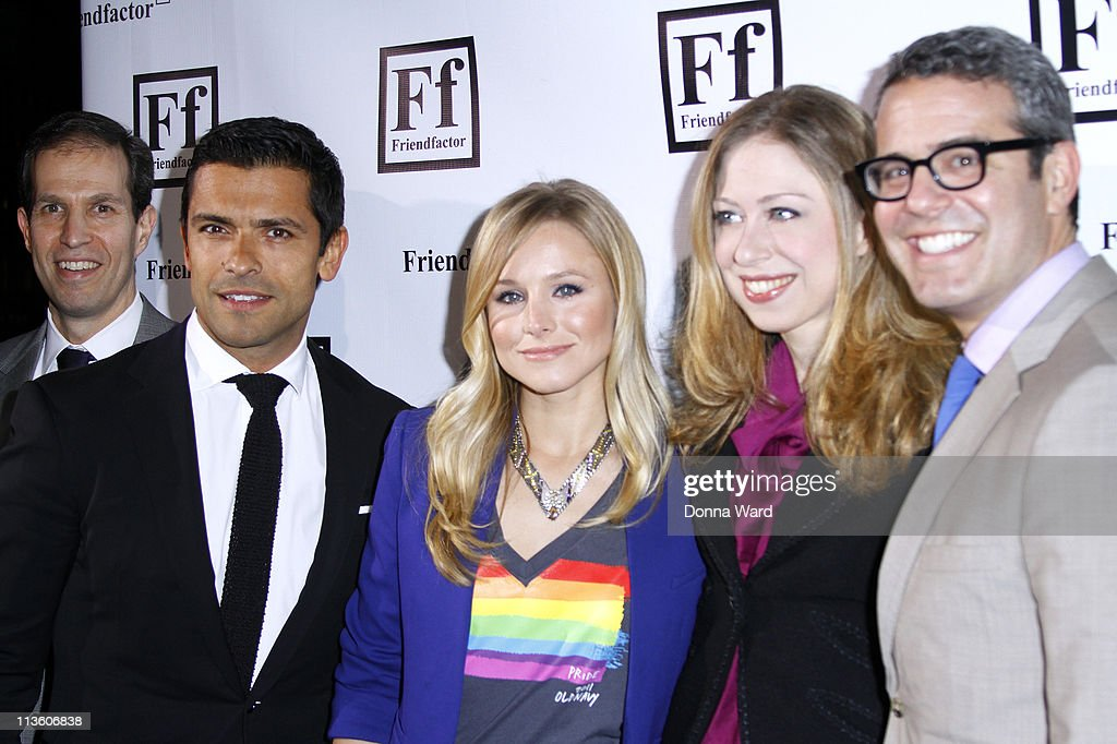 Ken Mehlman, Mark Consuelos, Kristen Bell and Andy Cohen attend the New York launch of Friendfactor at Lavo on May 3, 2011 in New York City.