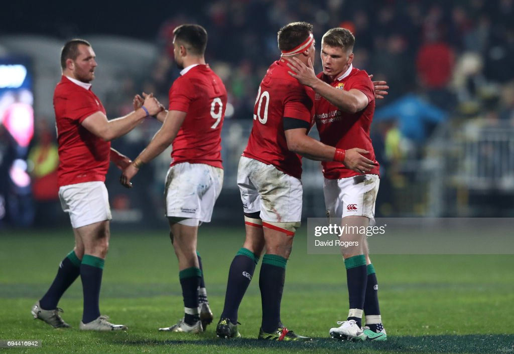 Ken Owen, Conor Murray, CJ Stander and Owen Farrell of the Lions celebrate following their team's 12-3 victory during the 2017 British & Irish Lions tour match between the Crusaders and the British & Irish Lions at the AMI Stadium on June 10, 2017 in Christchurch, New Zealand.