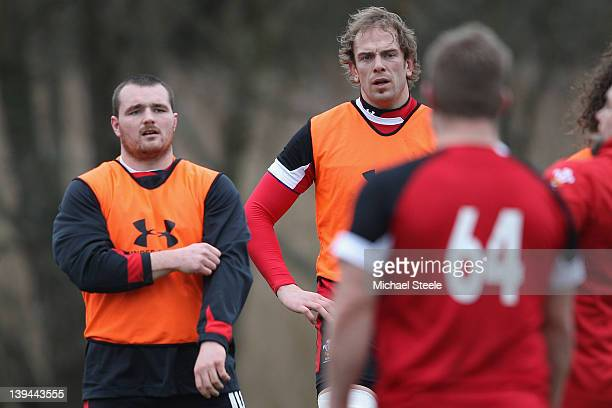 Ken Owens and Alun Wyn Jones during the Wales rugby training session at Vale Resort on February 21 2012 in Cardiff Wales