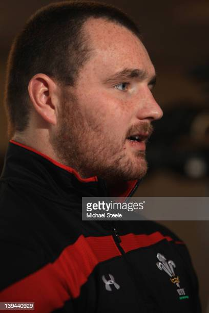Ken Owens during the Wales rugby press conference at Vale Resort on February 21 2012 in Cardiff Wales