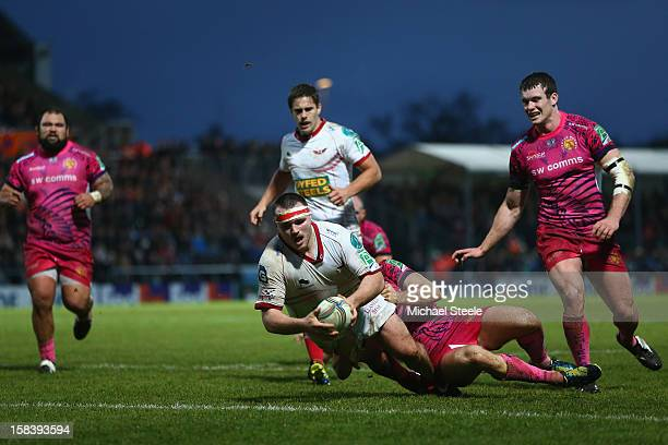 Ken Owens of Scarlets scores his sides opening try during the Heineken Cup Pool Five match between Exeter Chiefs and Scarlets at Sandy Park on...