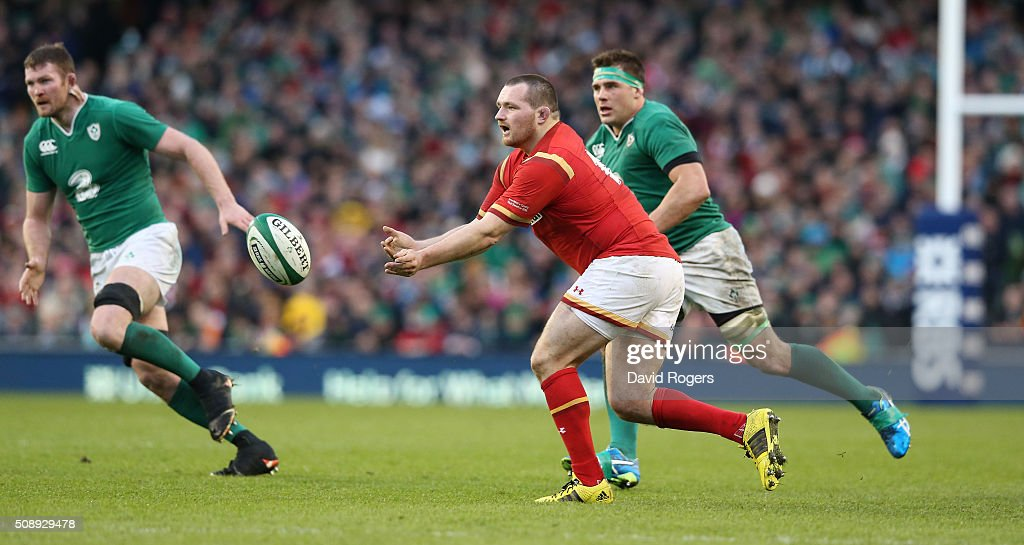 Ken Owens of Wales passes the ball during the RBS Six Nations match between Ireland and Wales at the Aviva Stadium on February 7, 2016 in Dublin, Ireland.