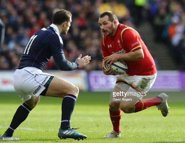 Ken Owens of Wales takes on Tim Visser during the RBS Six Nations match between Scotland and Wales at Murrayfield Stadium on February 25 2017 in...