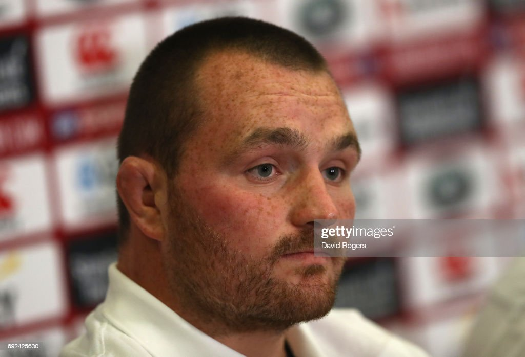 Ken Owens, who will captain the Lions against the Blues, faces the media during the British & Irish Lions media session held at the Pullman Hotel on June 5, 2017 in Auckland, New Zealand.