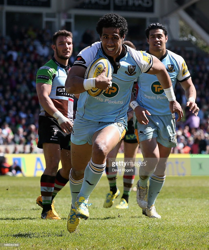 Ken Pisi of Northampton breaks with the ball during the Aviva Premiership match between Harlequins and Northampton Saints at Twickenham Stoop on May 4, 2013 in London, England.