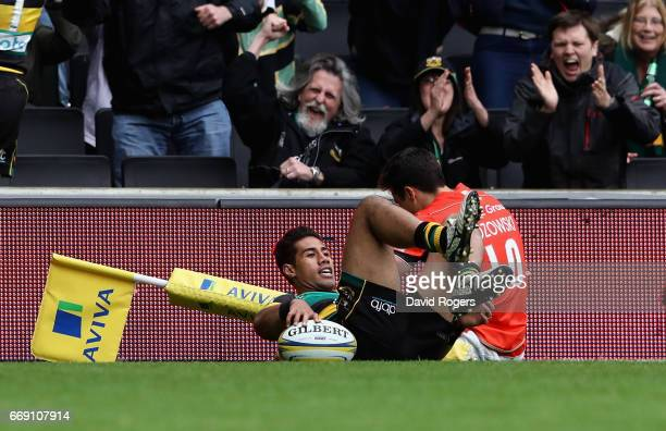 Ken Pisi of Northampton scores their third try during the Aviva Premiership match between Northampton Saints and Saracens at Stadium mk on April 16...