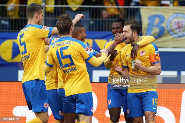Ken Reichel of Braunschweig celebrates after scoring their first goal during the Second Bundesliga match between Eintracht Braunschweig and 1 FC...