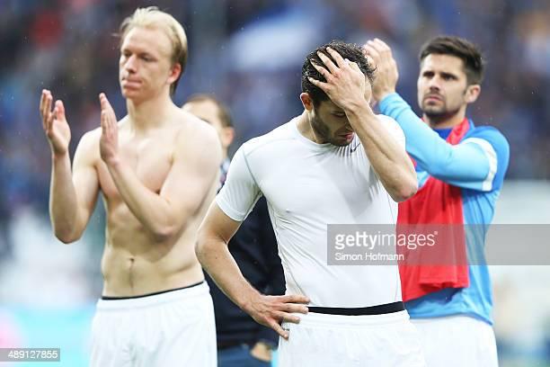 Ken Reichel of Braunschweig reacts after the Bundesliga match between 1899 Hoffenheim and Eintracht Braunschweig at Wirsol RheinNeckar Arena on May...