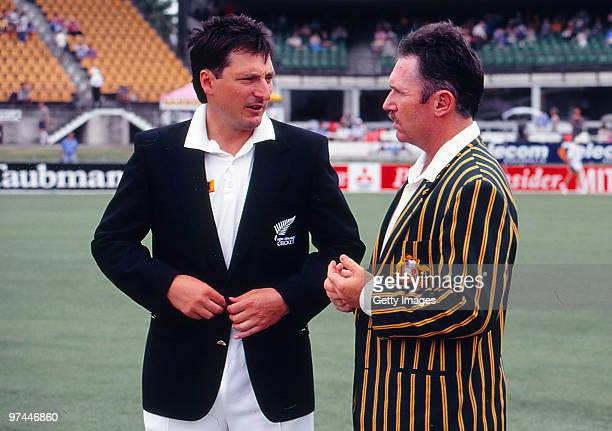 Ken Rutherford of New Zealand and Allan Border of Australia chat at the coin toss before a test match between Australia and New Zealand on December 4...