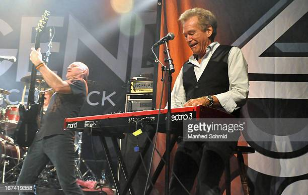 Ken Sandin and Bill Champlin formerly of Chicago perform onstage during the 30th anniversary party of Szene Wien on April 18 2013 in Vienna Austria