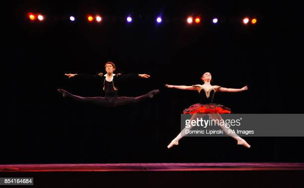 Ken Saruhashi and Nancy Osbaldeston perform during the dress rehearsal for the English National Ballet's Emerging Dancer competition at the Queen...