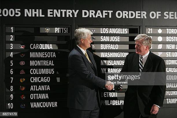 Ken Sawyer president and general manager of the Pittsburgh Penguins with Brian Burke executive vice president and general manager of the Anaheim...