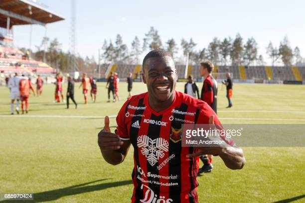 Ken Sema of Ostersunds FK celebrates after the victory of the Allsvenskan match between Ostersunds FK and Kalmar FF at Jamtkraft Arena on May 20 2017...